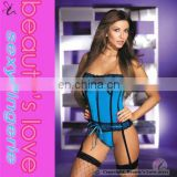 Open sex images sexy woman underwear waist shaper lingerie stretch blue lycra tight lace up corset