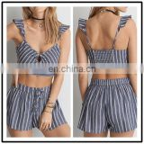 MIKA72035 Summer Hot Sale Womens Striped Keyhole Crop Tops Wholesale