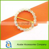 Wholesale circle crystal rhinestone buckle Invitation Ribbon Slider For Wedding Supplies