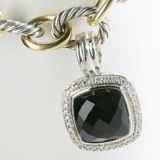 Sterling Silver 925 DY 14mm Black Onyx Albion Enhancer