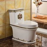 Factory bathroom high quality ceramic new decal western golden design 4D one piece toilet in good quality manufacturer