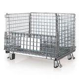 Wire mesh folding steel warehouse storage cage