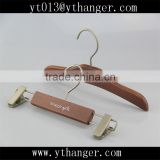 CY-273 brown wooden baby clothes hanger short wooden hanger with clips wholesale