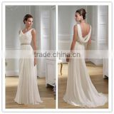 White V-neck Beaded Sash Long Girl Dress Cheap Wholesale Ruffle Clothing Chiffon Evening Dress