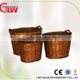 Set of 3 oval willow potato storage baskets with wooden handle
