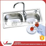 Top Quality Customized Logo 304 Stainless Steel Kitchen Double Inserts Sink In Singapore