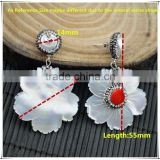LFD-03E 925 Silver Druzy Pearl Shell With Coral Pave Rhinestone Crystal Stud Earring / Drop Earrings Jewelry Finding