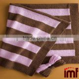 Chocolate And Pink Stripe Cashmere Baby Blanket