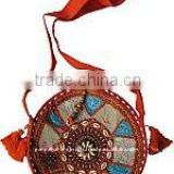 India embroidered shoulder cloth round bag-With tribal Indian vintage sari Ethnic Patchwork handbags at Wholesale price