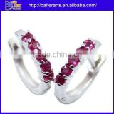 Best Seller ! Wholesale Fashion .925 Sterling Silver Red Real Ruby Earrings