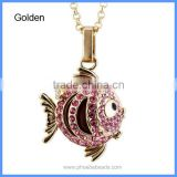 Wholesale Rhinestones Pave Metal Tropical Fish Hollow Cage Chime Box Pendant Pregnancy Necklaces For Mother BAC-M044