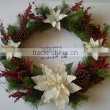 2015 new christmas artificial poinsettia and berry wreath cream 24 inch christmas artificial pine flower decoration