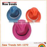 Solid colors acrylic braided fedora hat with cute ribbon