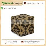Decorative Wool Jute Knitted Pouf for Home Decor at Optimum Rate