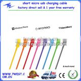 Manufacturer Colorful Short Travel Micro USB Sync Data charger Cable Cord for Android Samsung galaxy S