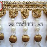 Wholesale Home Decor Wood Beaded Fringe For Decorative Curtain & Table cloth