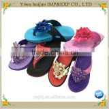 2016 No.1 Hot Sale High Heel EVA Material Lace Flower Flip Flops Women Slippers                                                                         Quality Choice