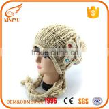 Custom acrylic white knitted women winter hat pom pom beanie knitted cap                                                                                                         Supplier's Choice