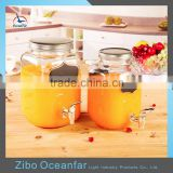 Eco-friendly Glass Wine Dispenser Clear Glass Beverage Dispenser Jar Square Juice Jars With Tap