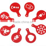 8pcs Creative Nice Coffee Barista Stencils Template Strew Pad Duster Spray Art (Random Style)