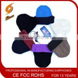 Embroidered Logo winter music Acrylic hat headphoen&headset for children