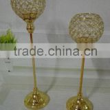 wholesale gold plated long-stemmed candle holder for wedding and party decoration with crystal globe