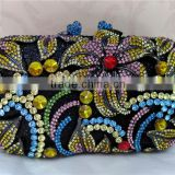 NICE flower multi-color Hot women fashion clutch colorful crystal stone evening bag FH28-1