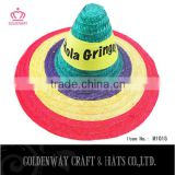 2016 Fashionable sombrero hat and colorful 100% bamboo mexican hat adult party promotional sombrero mexican hat