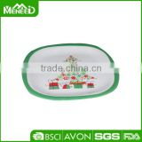 X'mas tree & bow printed banquet party dishes, bonny Christmas durable melamine plate