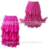 Belly Dance 3 Layers Polyester Chiffon Skirts in regular colors