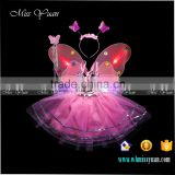 Children performance dresses butterfly lights led dance costumes for girls