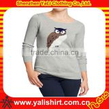 High quality stylish comfort anti-pilling o-neck print long sleeve casual women knit tall t-shirts wholesale