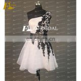 CE739 Made In China Customized One-shoulder Black Lace White Short Cheap Cocktail Dresses