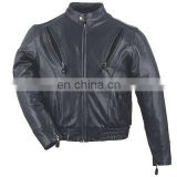 HMB-0468A LEATHER JACKETS MOTORBIKE COATS BLACK BIKER STYLE