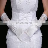 Top Design New Full Finger Elbow Satin Bridal Gloves High quality Water Soluble Lace Embroidered Wedding Gloves For Lady