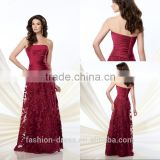 Latest Beautiful Burgundy Embroidery Mother Of The Bride Dress 2014