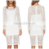 2015 Customized Plus Size Long sleeve white lace knee length dress                                                                         Quality Choice
