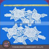 Promotion Wholesale Custom 2pieces per set Crochet embroidery neckline designs Shoulder Applique