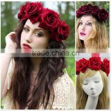 AliExpress Foreign trade export hot style high-grade flannelette big red rose flower wreath hair bands wholesale SM-0624RB                                                                                                         Supplier's Choice