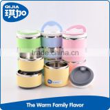 Round food grade portable colroful pp stainless steel 3 compartment lunch box with handle