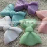 Large 60X43MM Easter Pastel Mint Color Mix Colorful Acryloc Solid Bow Beads for Chunky little Girl Necklace Fashion Jewelry