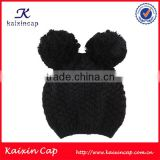 high quality black baby knit winter beanie hat with two balls