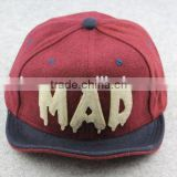 BSH030E Manufactory promotion MAD 3D embroidered wool baseball cap Hat for sport and snapback