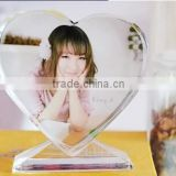Hot Sale Crystal frameless Photo Frame Heart Crystal Print Frame transparent clear Glass Picture Frame for wedding gifts