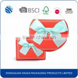 Glossy lamination paper wedding invitation box with bow