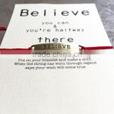 Gift card Make a wish rope believe bracelet