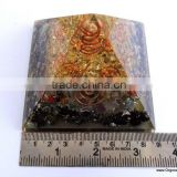 Quality Orgone Chakra Stone Crystal Black Tourmaline Pyramid With 4 SBB Coil Charged Crystal Point | Pyramid Meditation