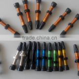 Aluminum and copper tubeless bicycle valve, valve core, valve stem, presta valve extension , Aluminum valve caps