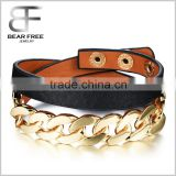 Casual Sport Basketball Wristband Gold Plated Black Leather Wrap Bracelet