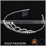Latest beautiful silver color crown design rhinestone bridal hair accessories for women                                                                                                         Supplier's Choice
